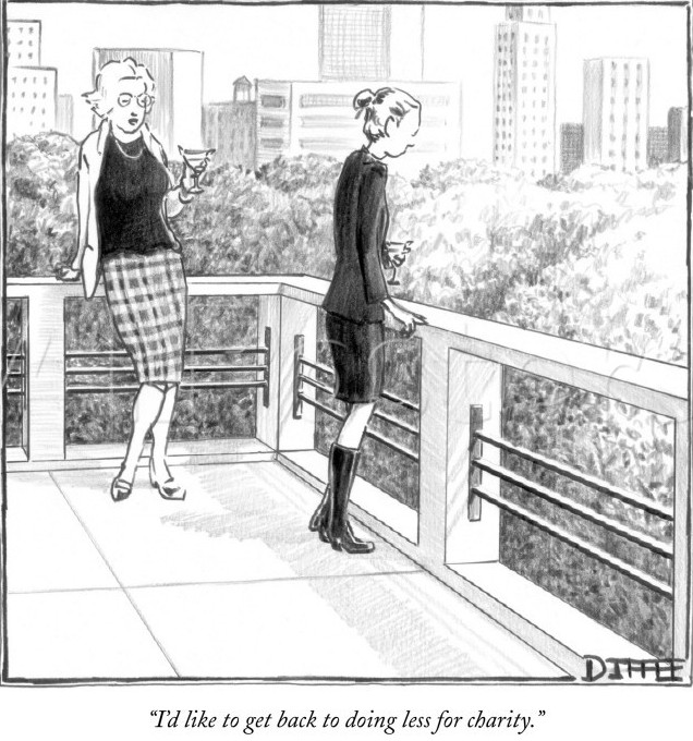I was reminded of this New Yorker cartoon on the walk described in this entry.